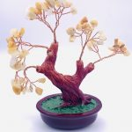 Copper and crystal stone tree